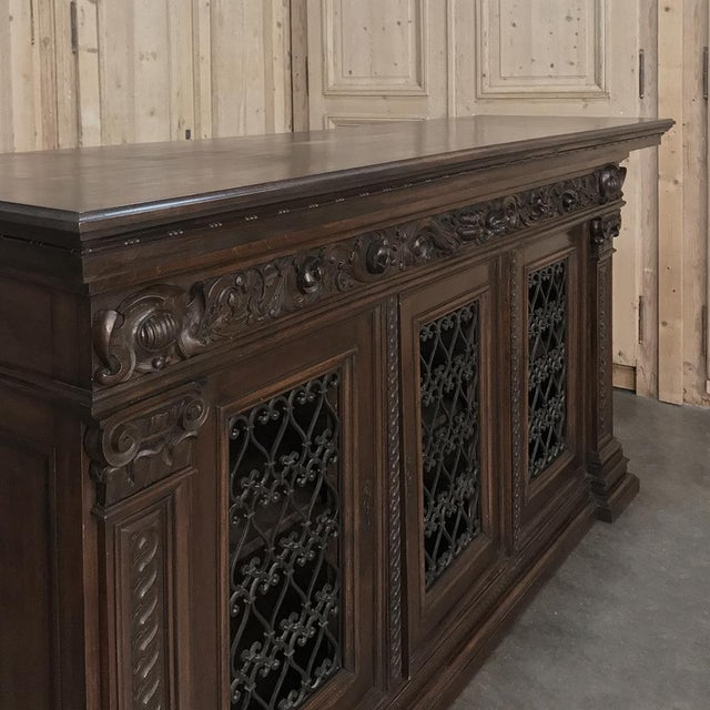 Metal Antique Italian Walnut Renaissance Buffet/Credenza, Bookcase With Wrought Iron For Sale - Image 7 of 8