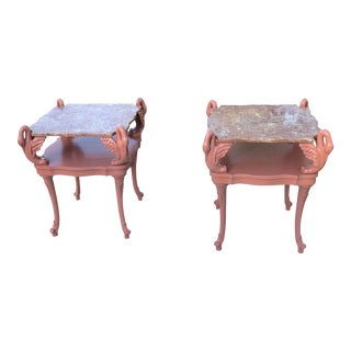 Art Nouveau 2-Tiered Carved Swan Tables - a Pair For Sale