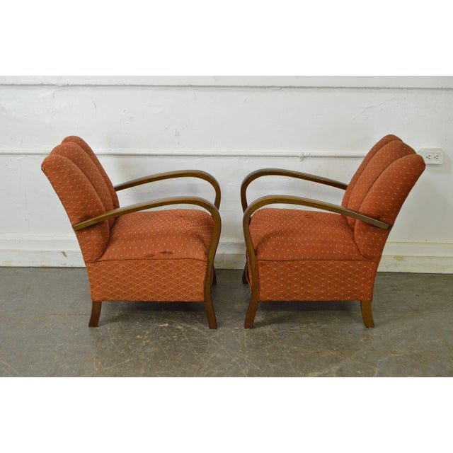 Art Deco Style Pair of Open Arm Lounge Chairs - Image 3 of 10