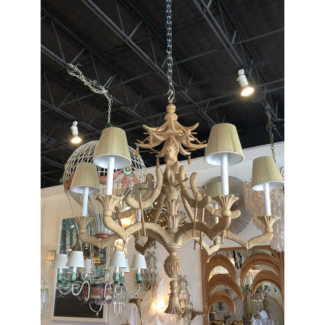 1970s Vintage Chinoiserie Tropical Palm Beach Carved Wood Pagoda Monkey Tassels Bells Chandelier For Sale - Image 5 of 11