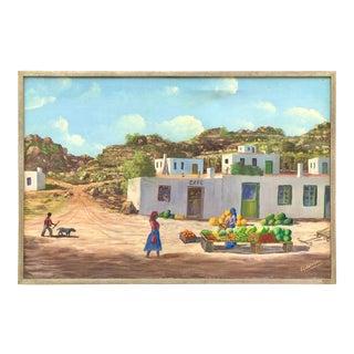 Vintage South African Market Landscape Painting by Werner Fordelmann For Sale