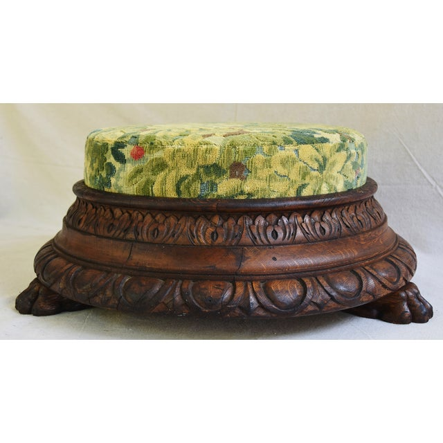 Early Carved 1900s Foot Stool w/ Scalamandre Marly Velvet Fabric For Sale - Image 9 of 11