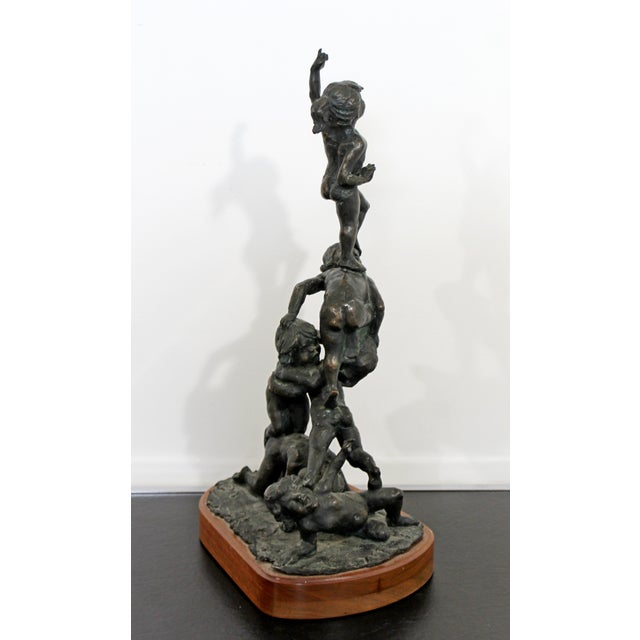 Bronze Mid Century Modern Bronze Table Sculpture Signed Edward Chesney 1972 For Sale - Image 8 of 10