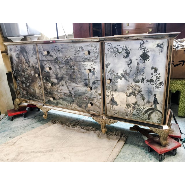 1950s Mirrored Chinoiserie Credenza - Image 10 of 10
