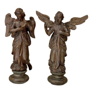 Pair 18th Century Carved Wood Angels For Sale