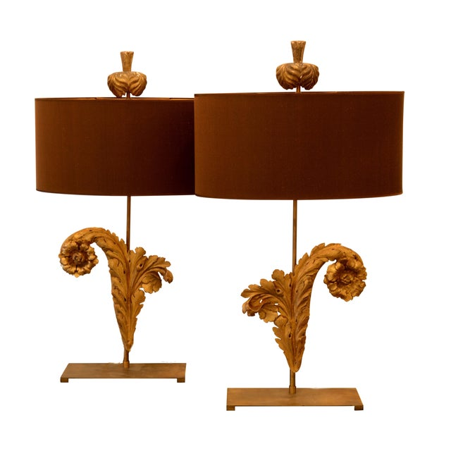 French Acanthus Leaf Lamps - A Pair - Image 1 of 5