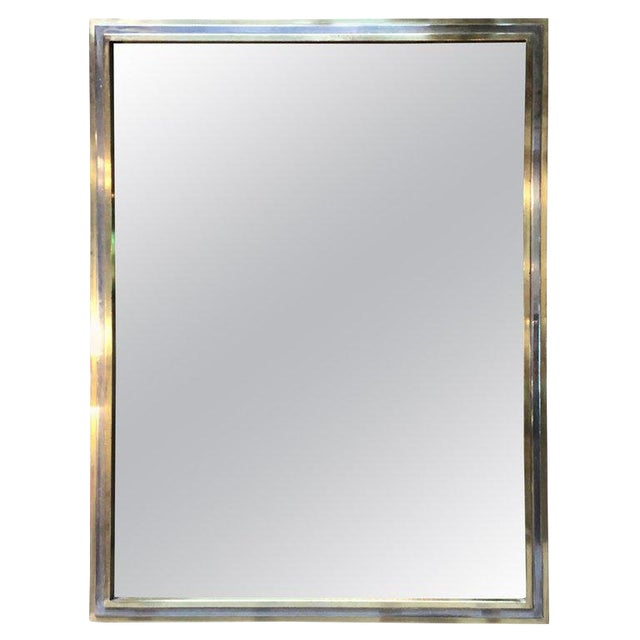 Italian Brass and Chrome Wall Mirror Attributed to Willy Rizzo, 1970s For Sale