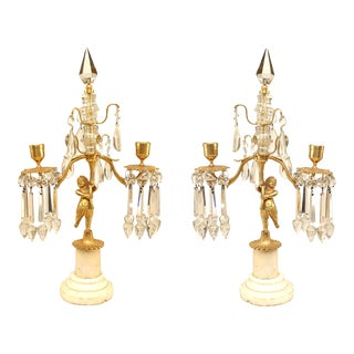 French Victorian Gilt Bronze and Crystal Candelabras For Sale