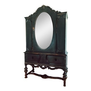 1900's Black Wash China Cabinet For Sale