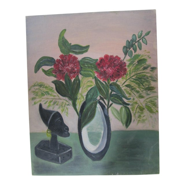 Mid-Century Still Life Painting With Flowers - Image 1 of 8