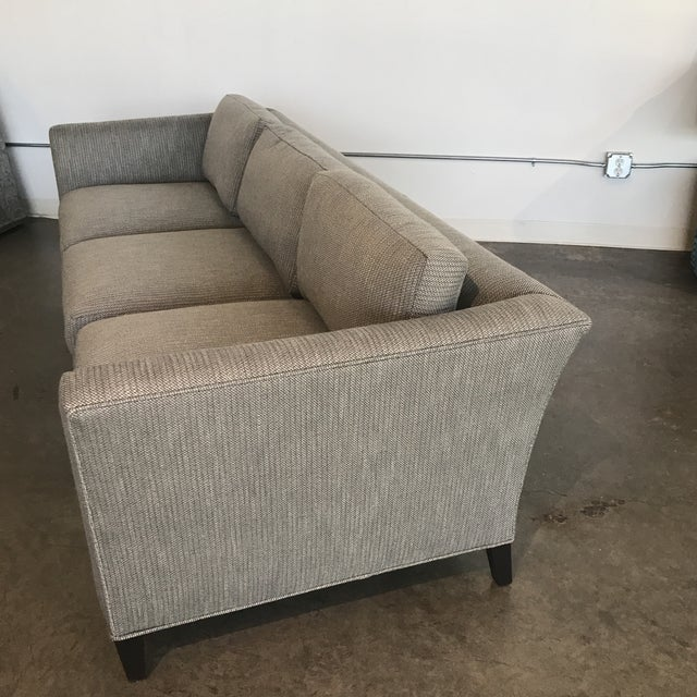 Drexel Heritage 3 cushion sofa newly upholstered in Perennial tweed fabric.