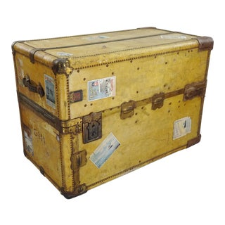 Antique Wheary Trunks Flat Top Steamer Trunk Leather Wrapped Wardrola For Sale