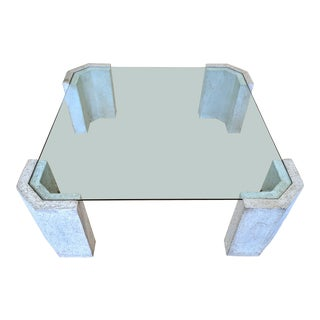 1980s Post Modern Stone and Glass Coffee Table For Sale