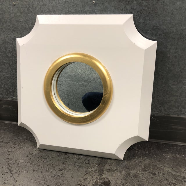 "Design Plus Gallery presents a Andaz Mirror by Palecek. The frame is a wood in a high white gloss finish. The mirror is 9""..."