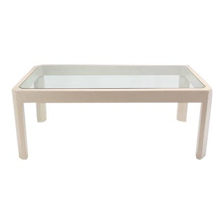 Vintage Mid Century Lacquered Cloth Frame Glass Top Rectangular Dining Table For Sale