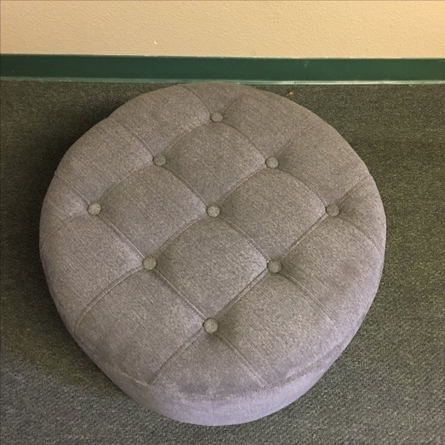 Gray Tufted Storage Ottoman - Image 3 of 9