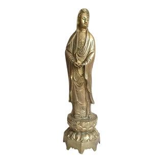 """Mid Century Modern Brass Guan Yin Goddess Statue 24"""" Chinoiserie Sculpture"""