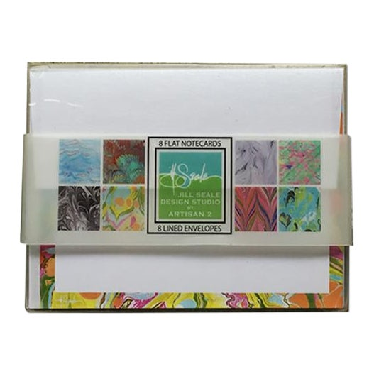 Jill Seale Hand Marbled Stationery Notecards - 8 Cards For Sale