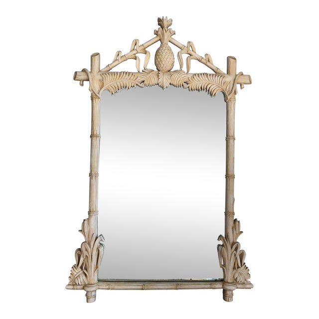 Gampel-Stoll Hollywood Regency Lacquered Pineapple Faux Bamboo Wall Mirror For Sale