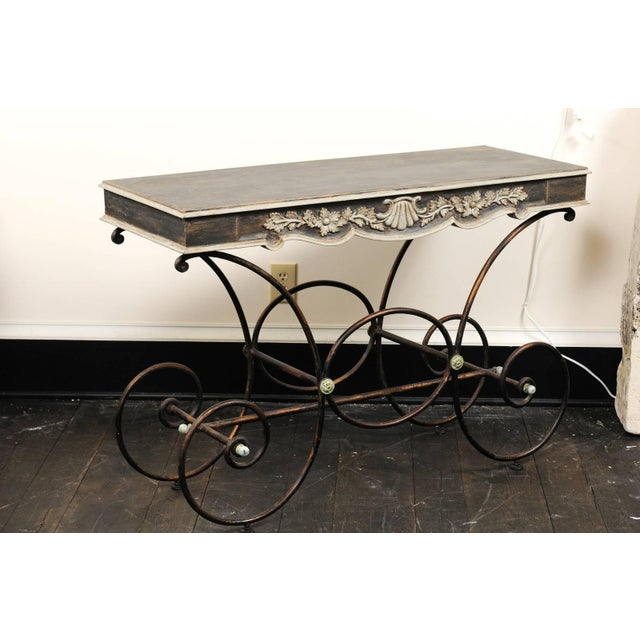 Vintage French Baker's Table With Painted Wood Top and Scrolled Iron Base For Sale In Atlanta - Image 6 of 11