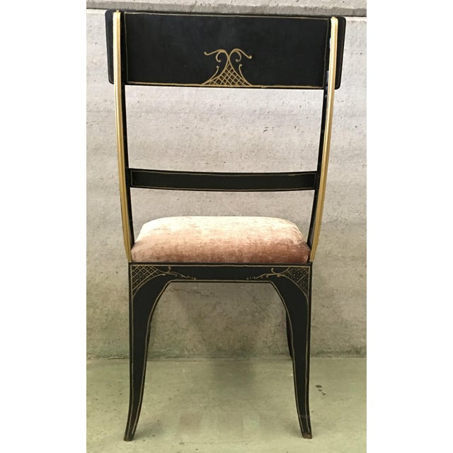 Gold Early Regency or Gustavian Bellman Chair After Sheraton, Set of Six Iron Chairs For Sale - Image 7 of 10