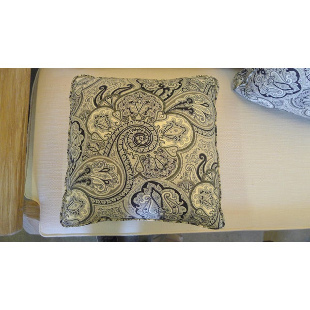 Contemporary Cotton Paisley Black and White Pillows - a Pair For Sale In Los Angeles - Image 6 of 8