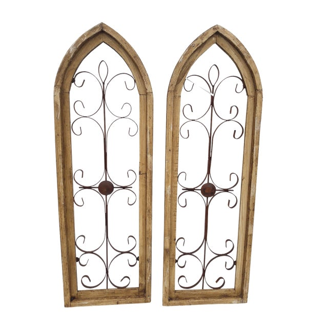 Rustic Country Farmhouse Cathedral Window Grilled Shabby Wall Garden Hangings