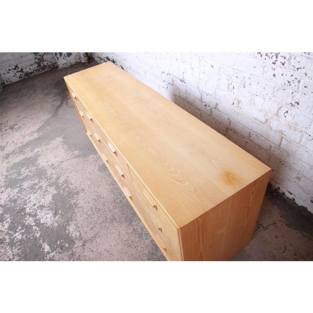 Milo Baughman Style Burl Wood Long Dresser or Credenza by Henredon For Sale - Image 11 of 13