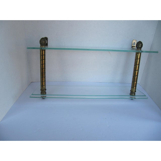 Gold Vintage Glass and Brass Shelf For Sale - Image 8 of 8