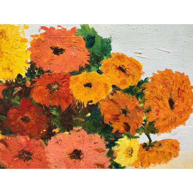 Shabby Chic 1970s Vintage Yellow and Orange Flowers Framed Painting For Sale - Image 3 of 8