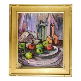 Framed Still Life Fruit Oil on Canvas Painting by Grace Libby Vollmer For Sale