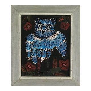 Blue Owl Naive Painting by Sisson Blanchard Haitian Oil on Masonite For Sale