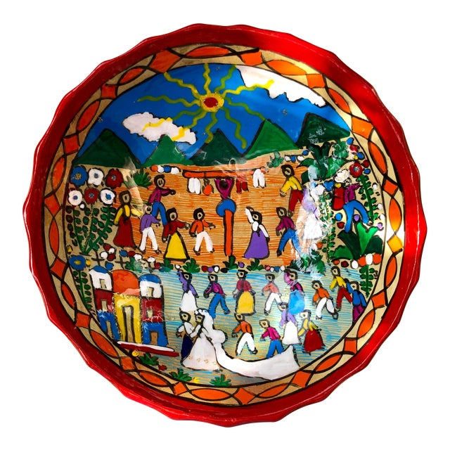 Mexican Wedding Folk Art Hand-Painted Pottery Bowl For Sale