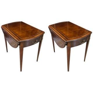 1930's Vintage Pembroke Mahogany Leather Topped Tables- A Pair For Sale