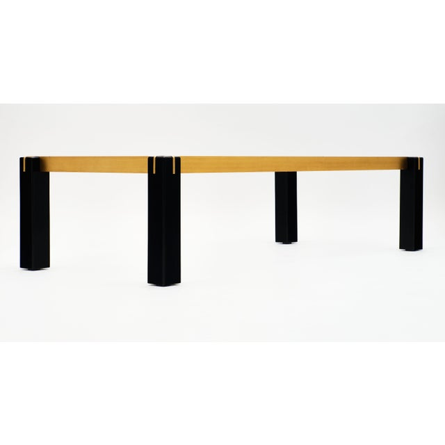 Metal Modernist Brass and Black Coffee Table For Sale - Image 7 of 9
