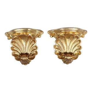 1950's Hollywood Regency Gold-Leafed Plaster Wall Shell Corbels - a Pair For Sale