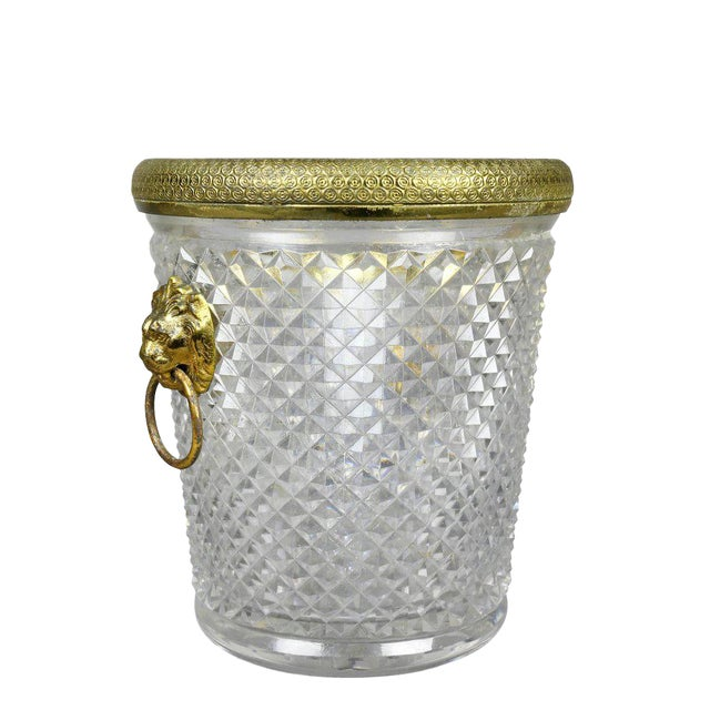 French Cut Crystal Bottle Holder or Ice Pail For Sale