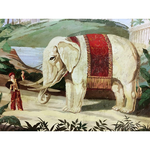 Inspired from Vintage French Scenic Wall paper, hand painted on canvas mount on wood penal. People with elephant,...
