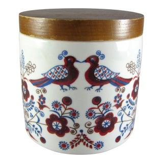 1966 Hand Painted German Folk Art Lidded Vanity Jar For Sale