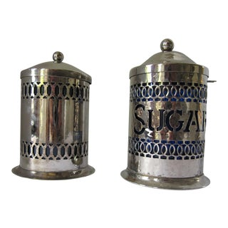Vintage Silver-Plate Canisters- A Pair For Sale