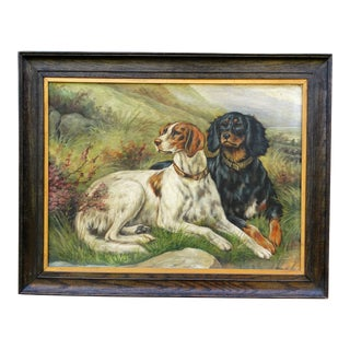 Antique Sporting Dogs Portrait Oil Painting g For Sale