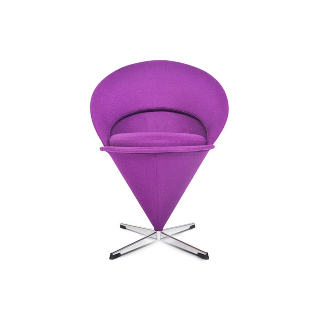 Verner Panton Swivel Cone Chair in Purple Wool For Sale - Image 10 of 10