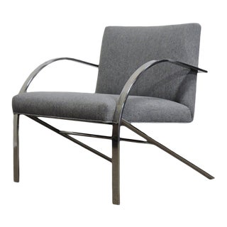 Paul Tuttle Style Arco Mid-Century Modern Chrome Lounge Chair by Bernhardt For Sale
