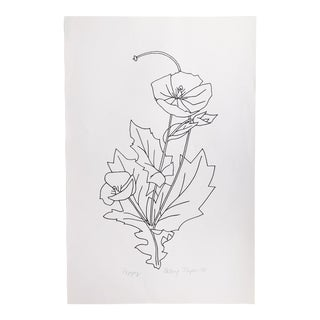 "Original Vintage 1978 Black and White Botanical ""Poppy"" Drawing Unframed on Paper Signed Betsey Tryon For Sale"
