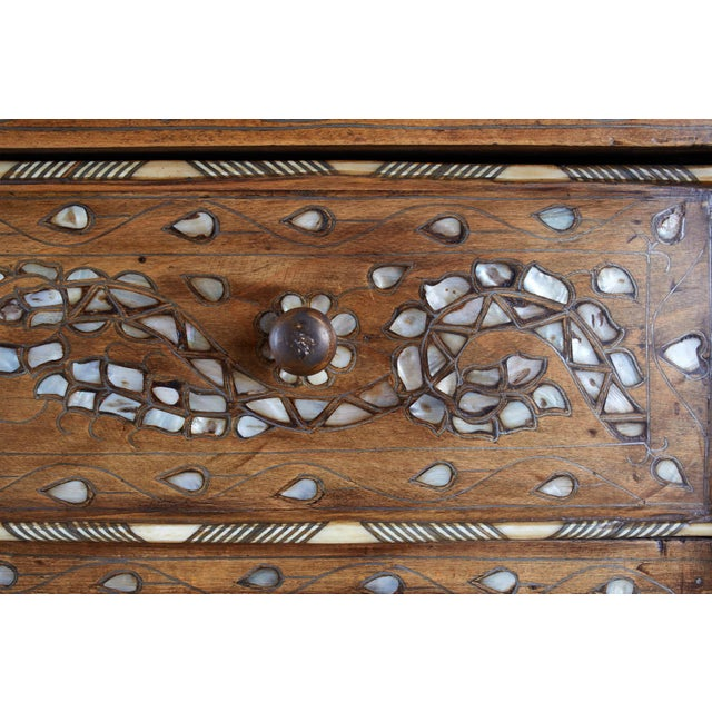 Brown Moorish Pearl Inlay Carved Wedding Chest of Drawers For Sale - Image 8 of 13