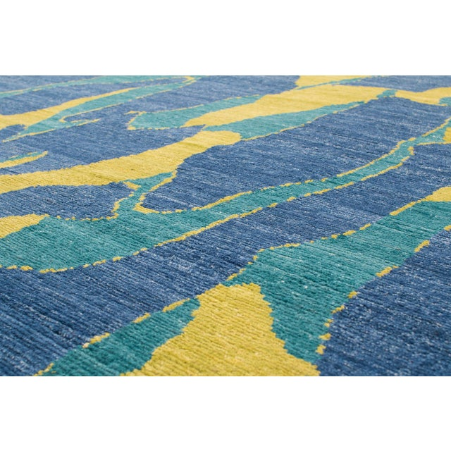 Carini Blue and Chartreuse Camouflage Print Area Rug - 8′ × 10′ For Sale - Image 4 of 7