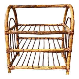 Vintage Chinoiserie Bentwood Rattan and Bamboo 12 Bottle Wine Rack For Sale