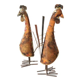 Rustic Copper Roosters - a Pair For Sale