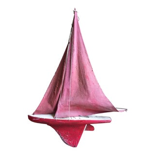 1940's Red Pond Model Sailboat For Sale