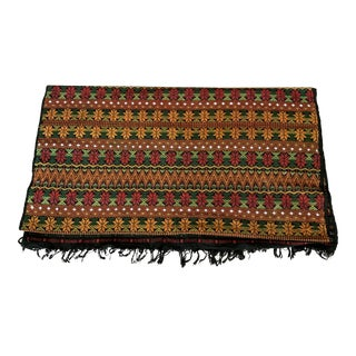 Vintage Peruvian Handwoven Cotton Textile Runner or Throw For Sale